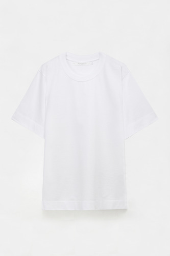 KNIT NECK OVERSIZED T WHITE