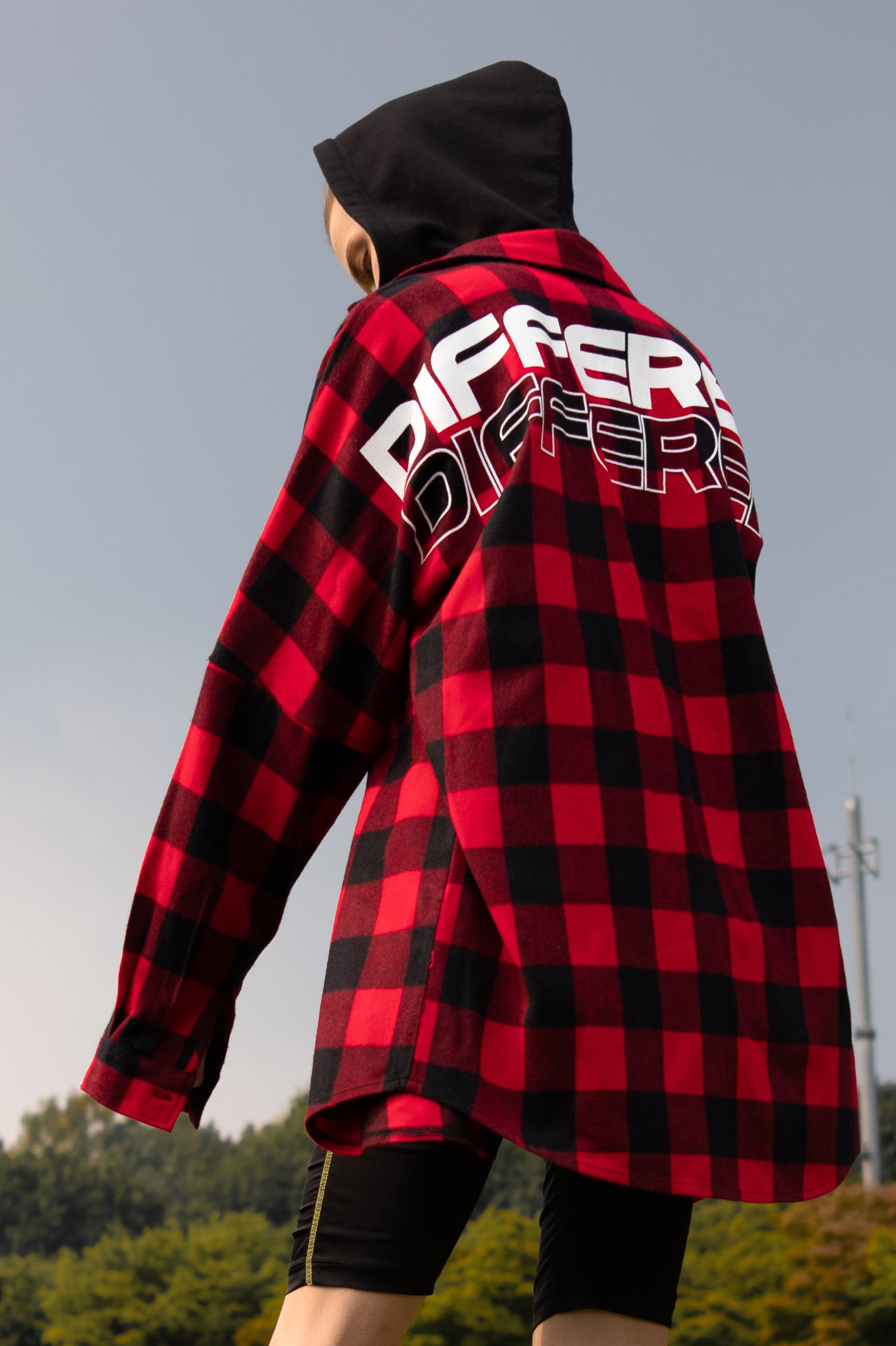 [UNISEX] DIFFERENT LETTERED CHECK HOOD SHIRTS RED