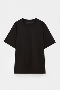 KNIT NECK OVERSIZED T BLACK