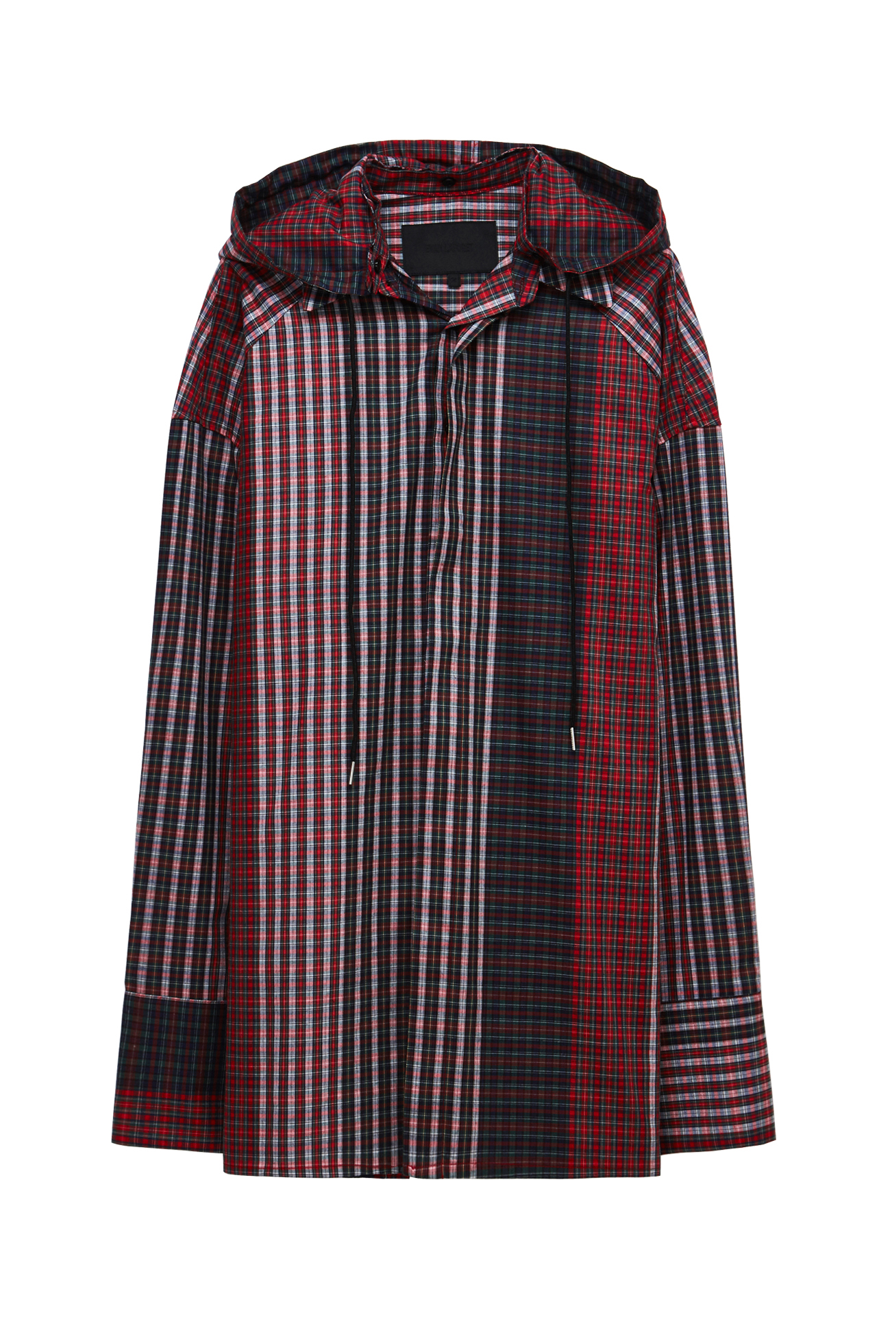 Multi check hood shirt